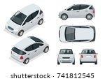 small compact electric vehicle... | Shutterstock .eps vector #741812545
