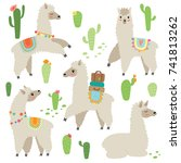cute hand drawn llama set | Shutterstock .eps vector #741813262