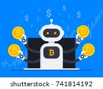 cryptocurrency trading bot. bot ...   Shutterstock .eps vector #741814192