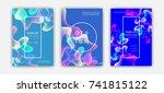 fluid color covers set.... | Shutterstock .eps vector #741815122