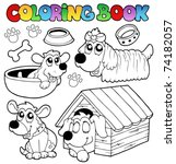coloring book with cute dogs  ... | Shutterstock .eps vector #74182057