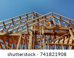 wooden roof construction  for... | Shutterstock . vector #741821908