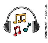 headphones note music sound... | Shutterstock .eps vector #741823036