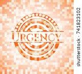 urgency abstract orange mosaic... | Shutterstock .eps vector #741823102