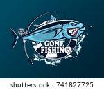 tuna big fishing on white logo...   Shutterstock .eps vector #741827725