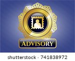 gold emblem with picture icon... | Shutterstock .eps vector #741838972