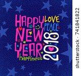 happy new year 2018 retro... | Shutterstock .eps vector #741841822