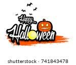 banner happy halloween and... | Shutterstock .eps vector #741843478