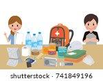 objects useful in emergency... | Shutterstock .eps vector #741849196