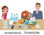 objects useful in emergency...   Shutterstock .eps vector #741849286