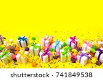 festive accessories for the hen ... | Shutterstock . vector #741849538