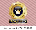 gold emblem or badge with... | Shutterstock .eps vector #741851092