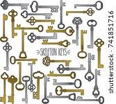 skeleton keys hand drawn gold... | Shutterstock .eps vector #741851716