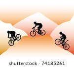 Silhouettes Of Mountain Bikers...