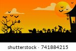 halloween and grave | Shutterstock .eps vector #741884215