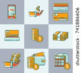 financial icons set | Shutterstock .eps vector #741886606