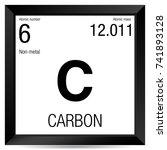 carbon symbol. element number 6 ... | Shutterstock .eps vector #741893128