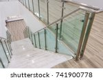 modern white marble stairs with ... | Shutterstock . vector #741900778