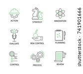 Modern Flat thin line Icon Set in Concept of Risk Management with word Action,Strategy,Innovation,Evaluate,Risk Control,Planning,Control,Process,Review. Editable Stroke.