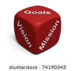 Red Dice with words Vision, Mission, Goals defining every company's Business strategy - stock photo