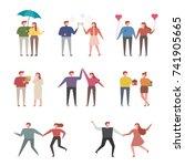 happy moments of couples vector ... | Shutterstock .eps vector #741905665