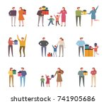 people who make gifts for... | Shutterstock .eps vector #741905686