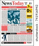 newspaper cover realistic... | Shutterstock .eps vector #741916942