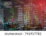 stock exchange graph chart... | Shutterstock . vector #741917782