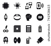 16 vector icon set   chip ... | Shutterstock .eps vector #741928615