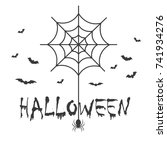 halloween with bat and spider... | Shutterstock .eps vector #741934276