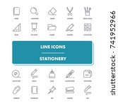 line icons set. stationery pack.... | Shutterstock .eps vector #741952966