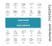line icons set. post service...