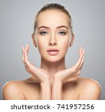 beautiful face of young... | Shutterstock . vector #741957256