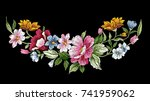 Stock vector vintage floral embroidery design flower vector illustration 741959062