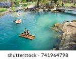 blue lagoon at vang vieng... | Shutterstock . vector #741964798