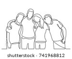 continuous line drawing of team ... | Shutterstock .eps vector #741968812