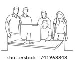continuous line drawing of team ... | Shutterstock .eps vector #741968848