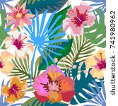 colorful tropical paradise.... | Shutterstock .eps vector #741980962