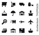 16 vector icon set   delivery ... | Shutterstock .eps vector #741992626