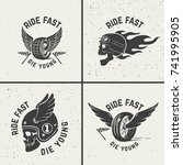 set of hand drawn biker emblems.... | Shutterstock .eps vector #741995905