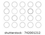 Big set of vector graphic circle frames for design