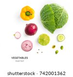 creative layout made of green... | Shutterstock . vector #742001362