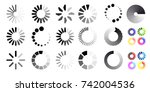 big set of loading icons. black ... | Shutterstock .eps vector #742004536