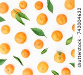 background of fresh citrus with ... | Shutterstock . vector #742004632
