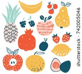 fruits and berries flat icons... | Shutterstock .eps vector #742005046