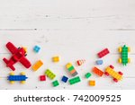 top view on multi color toy... | Shutterstock . vector #742009525
