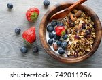 homemade  granola with  fresh... | Shutterstock . vector #742011256