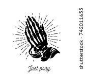 vector illustration   praying... | Shutterstock .eps vector #742011655