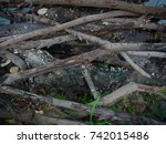 stack of old wood | Shutterstock . vector #742015486