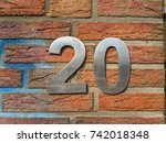 number 20 house number on the... | Shutterstock . vector #742018348